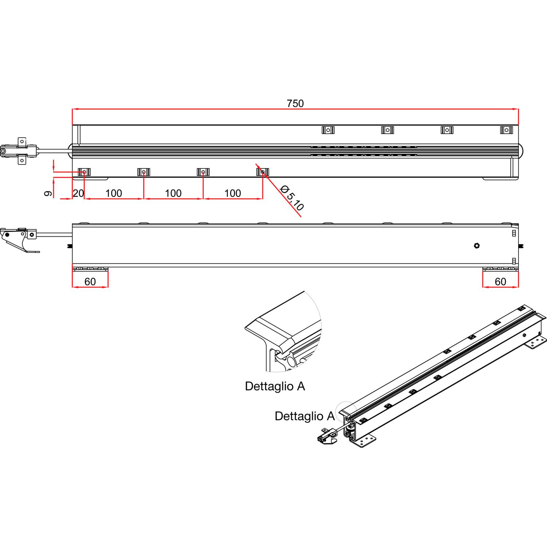 Sistema Per Tavolo Allungabile.Guida Tavolo Allungabile Alu 77 Lung Estesa 2530 Mm Pannelli 3x500
