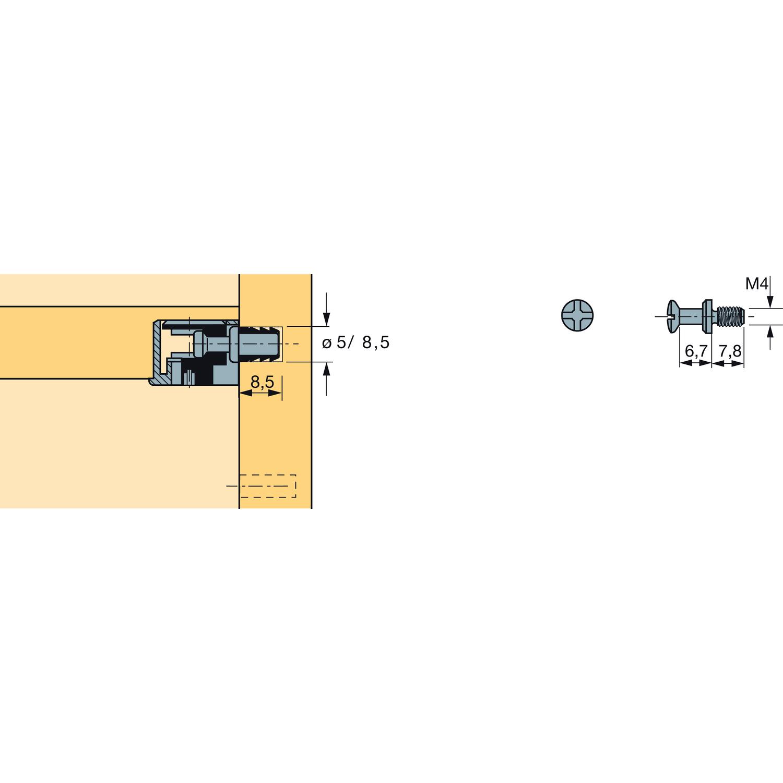 Hettich Vb 35 36 Einschraubdubel M4 X 7 8 Gewinde Spannmass 6 7
