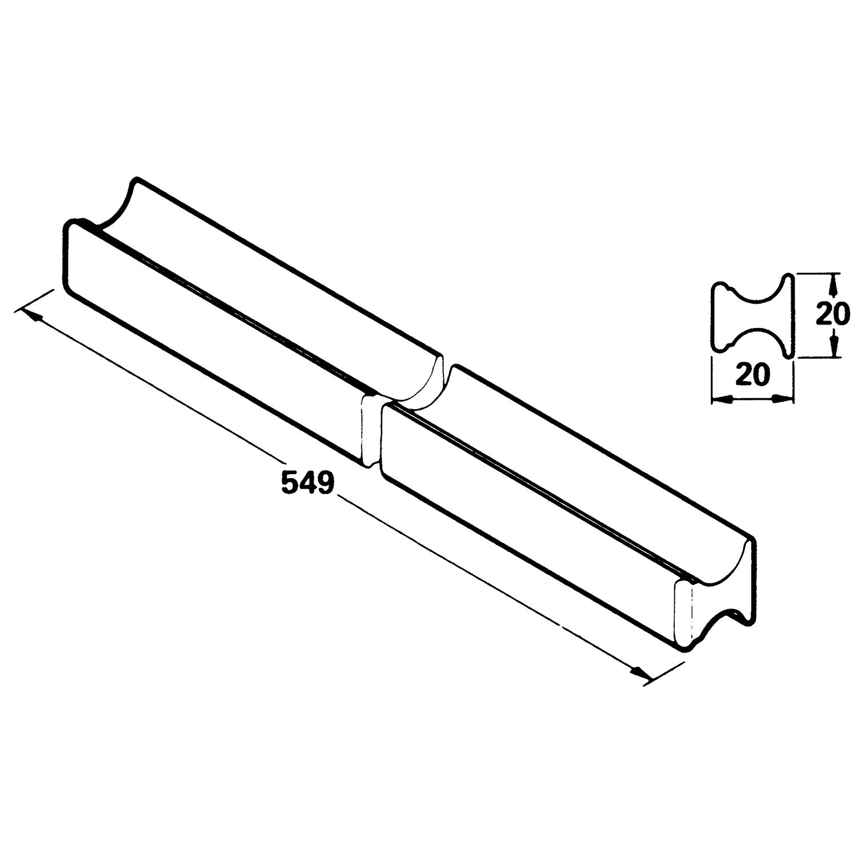 standard griffleiste breite 538 mm h he 20 mm euro erle roh. Black Bedroom Furniture Sets. Home Design Ideas