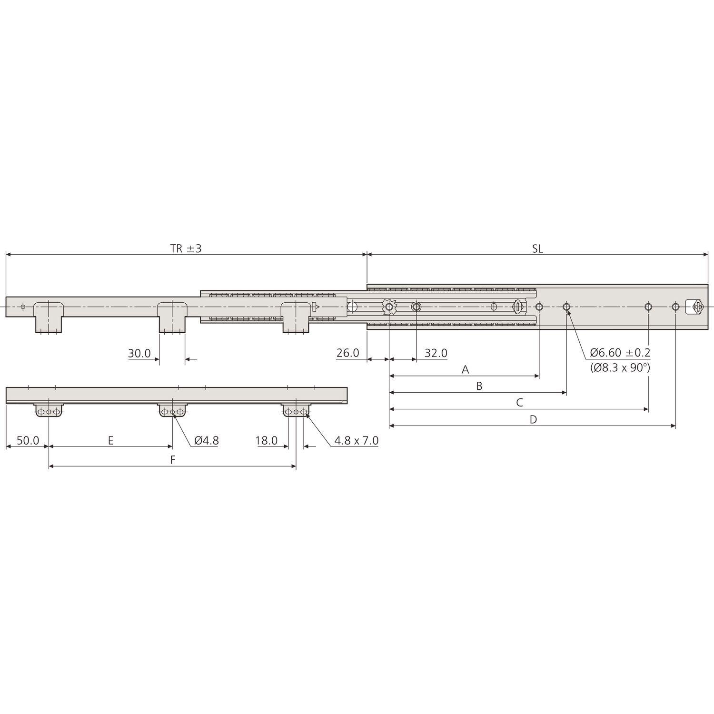 ACCURIDE 5321 Kugelkäfigführung Überauszug L 500 mm Stahl verzinkt