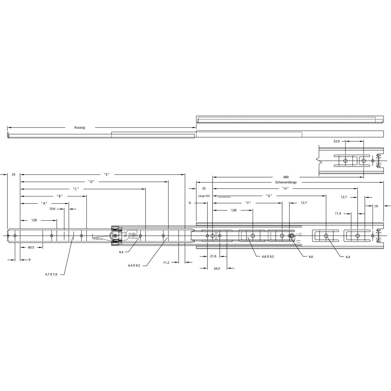 accuride 3832do kugelk figf hrung vollauszug l 600 mm. Black Bedroom Furniture Sets. Home Design Ideas