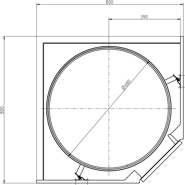 VS COR Wheel Pro Eckschrank Drehbeschlag KB 800 mm Holz grau RAL9006