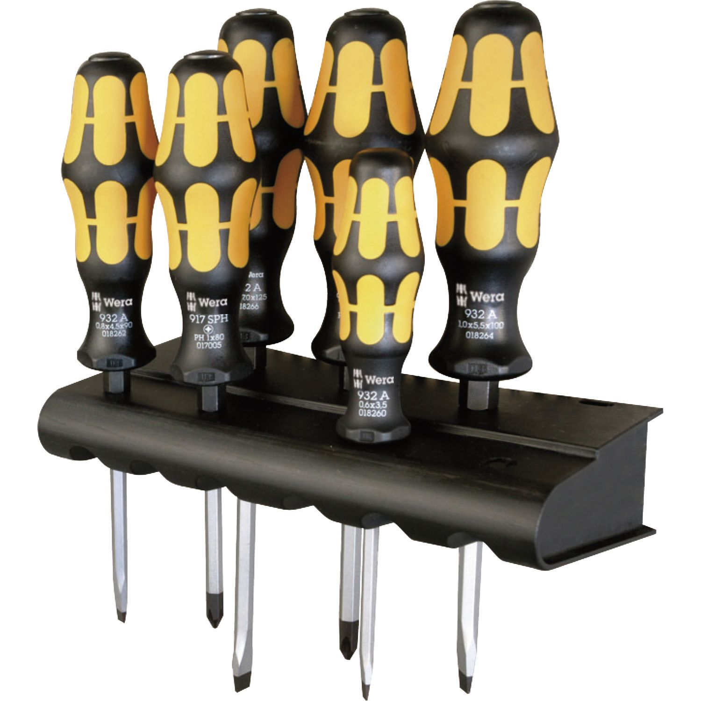 wera schraubendreher satz 932 918 6 rack schlitz pozidriv 6 teilig. Black Bedroom Furniture Sets. Home Design Ideas