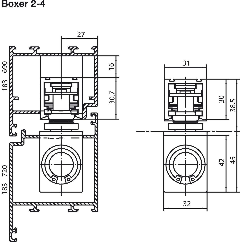 gleitschiene boxer ism silber. Black Bedroom Furniture Sets. Home Design Ideas