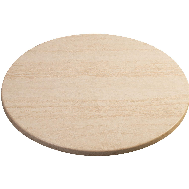 Tischplatte holzformpressteil 800 mm dekor white marmor for Travertin marmor tisch