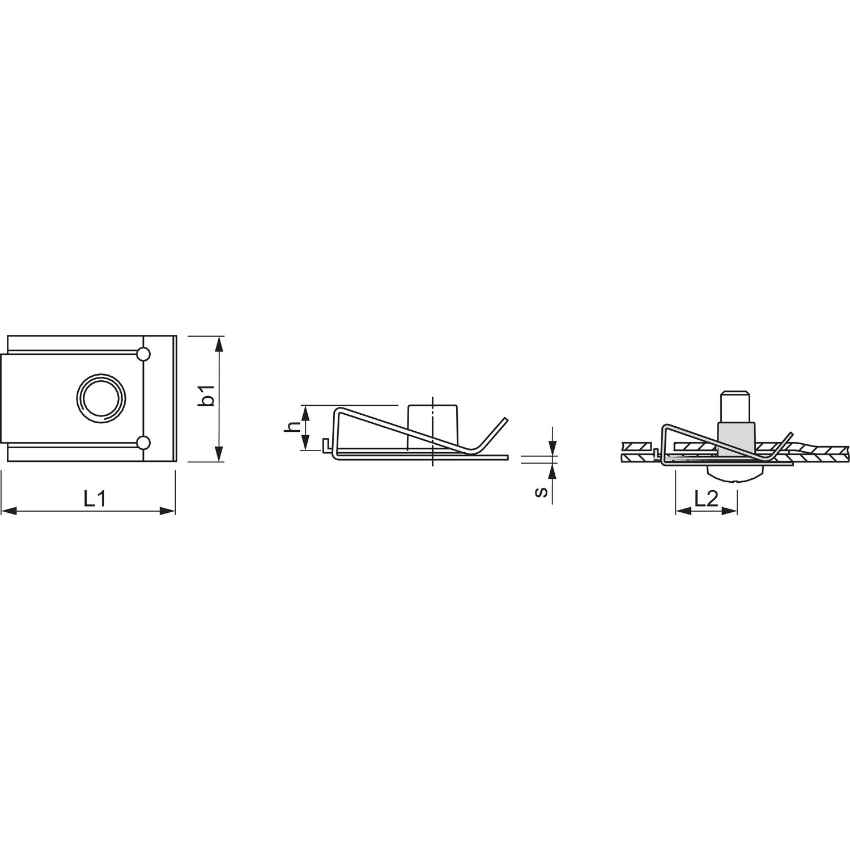 Blechmutter M4 05 40 Federstahl Verzinkt Mit Metrischem Gewinde Schematic