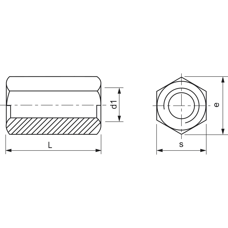 ähnlich DIN6334 M10x 50 verzinkt Sechskant-Langmutter mit kleiner Schlüsselweite