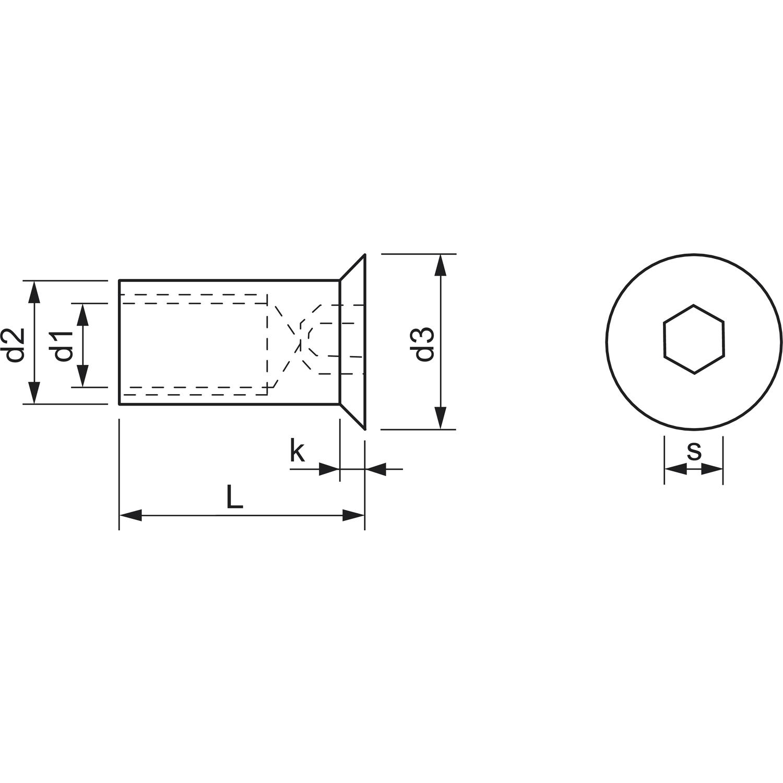 Berühmt Hülsenmutter Senkkopf M 8x 16 Edelstahl 1.4305 mit Innensechskant GO86