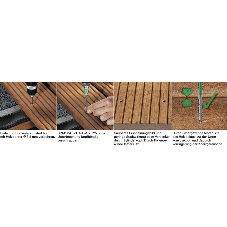 spax terrassenschraube mit zylinderkopf 5.0x 60 torx 25 edelstahl a2