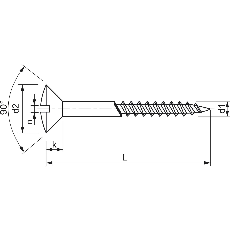 DIN 95 6.0 x 60 verzinkt Holzschraube Linsensenkkopf mit Schlitz