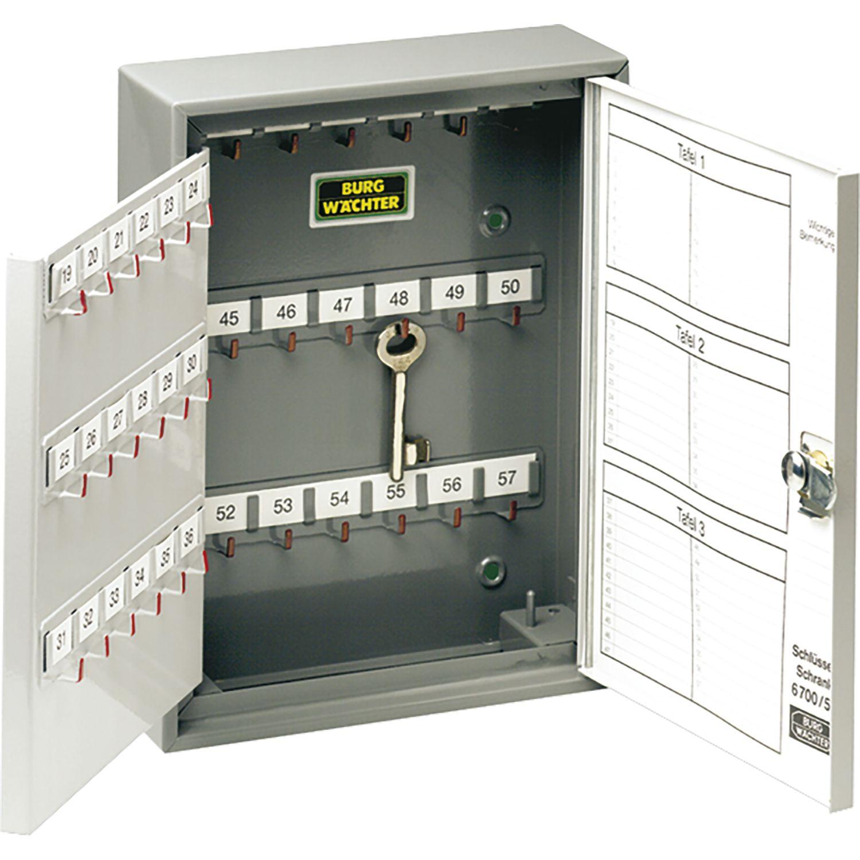BURG Schlüsselschrank 6700, mit 176 Haken, Stahl grau/hellgrau