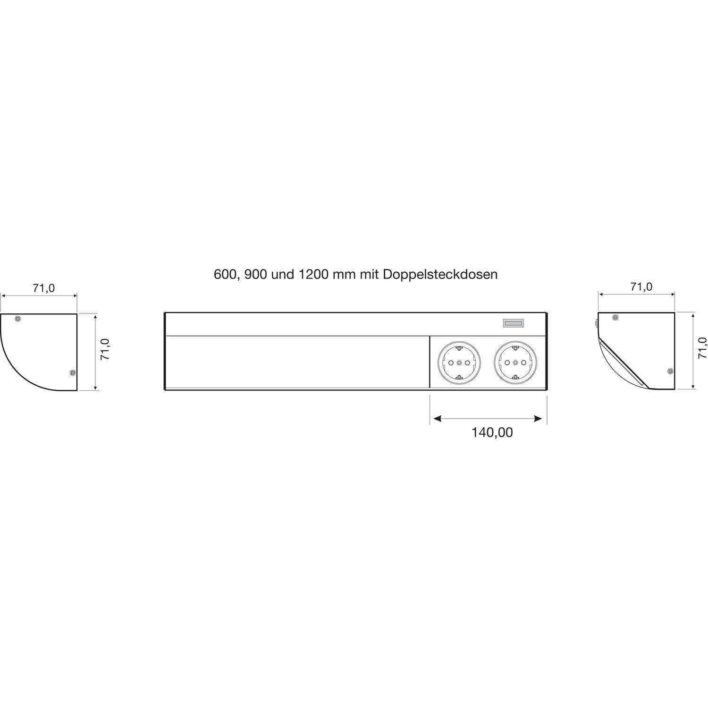 DV005-skiz_Unterbauleuchte_Corner_Compact_mit_Doppelsteckdose_0 Wunderbar 58 Watt Leuchtstofflampe Lumen Dekorationen