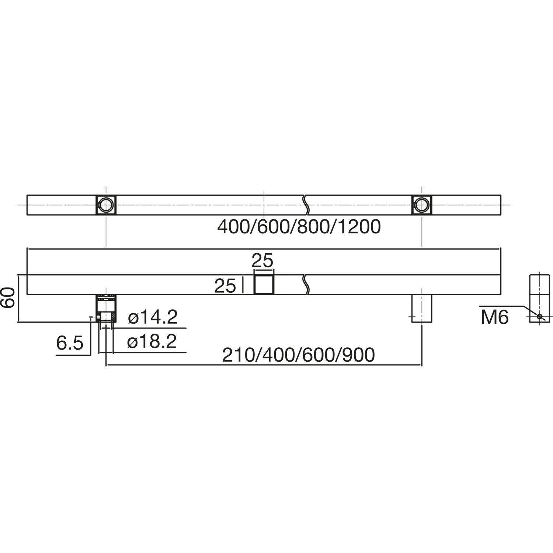 600mm MARCHESI Türgriff QUADRA 4820-800mm Edelstahl LA