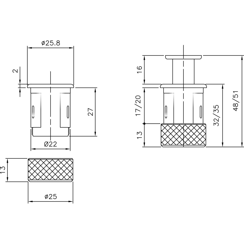 Zinkdruckguss alufarbig Tiefe 32 mm Druckknopf /ø 22 mm