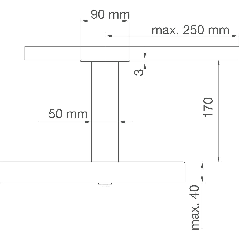 Barkonsole Capri gerade 50 x 50 mm Höhe 170 mm Aluminium natur eloxiert