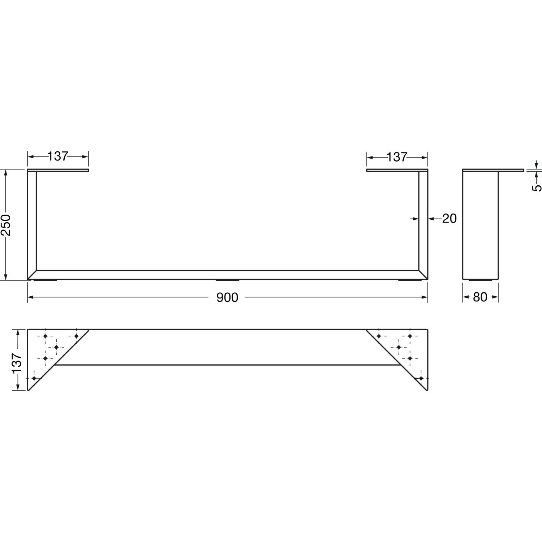bettkufe 80x20 mm breite 900 mm h he 250 mm stahl schwarzstahl klarlack. Black Bedroom Furniture Sets. Home Design Ideas