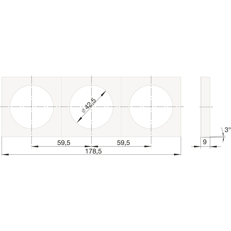 Berker Integro Pure Rahmen 3-fach chrom matt galvanisiert