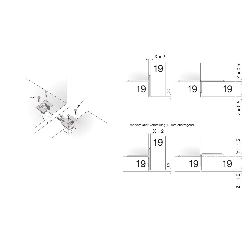 Variante: Frontstärke 19 mm; Korpusstärke 19 mm