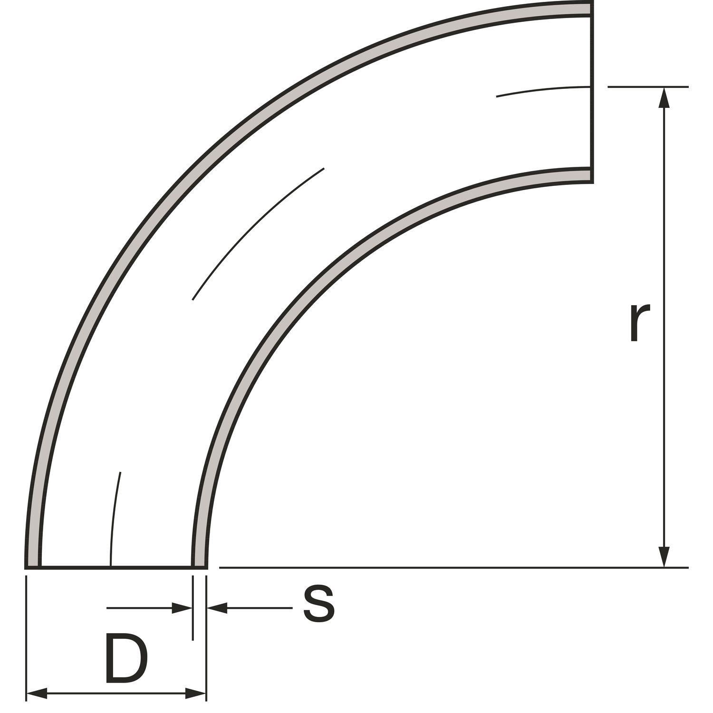 90 Grad Edelstahl Rohr Bogen Anschweißbogen.42,4 mm 1.4301