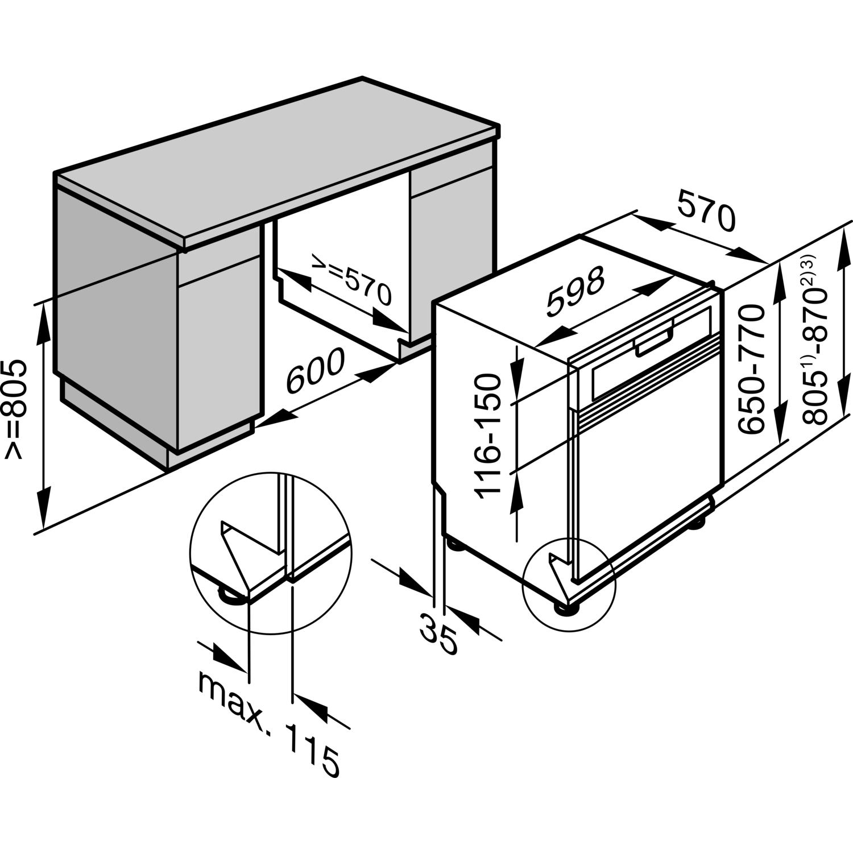 Extrem MIELE Einbau Geschirrspüler G 6200 SCi Edelstahl teilintegriert NR48