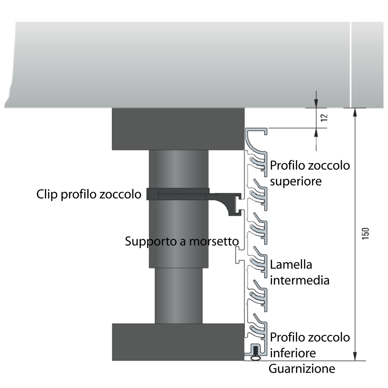 Profilo angolare alluminio design 5000 mm effetto acciaio inox - Zoccolo cucina altezza ...