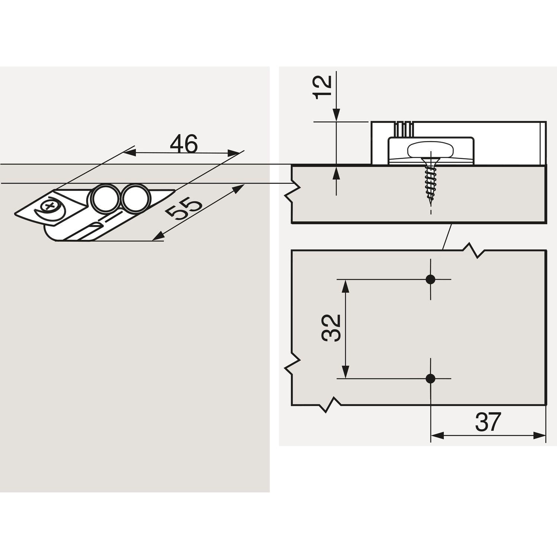 Kunststoff RAL 7036 platingrau BLUM BLUMOTION Adapterplatte gerade