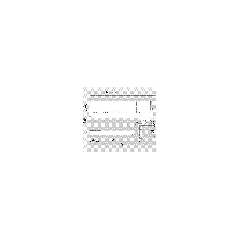 NL=menovitá dĺžka; X=pozícia vŕtania NL-96 mm; Y=minimálne nároky na priestor NL+3 mm