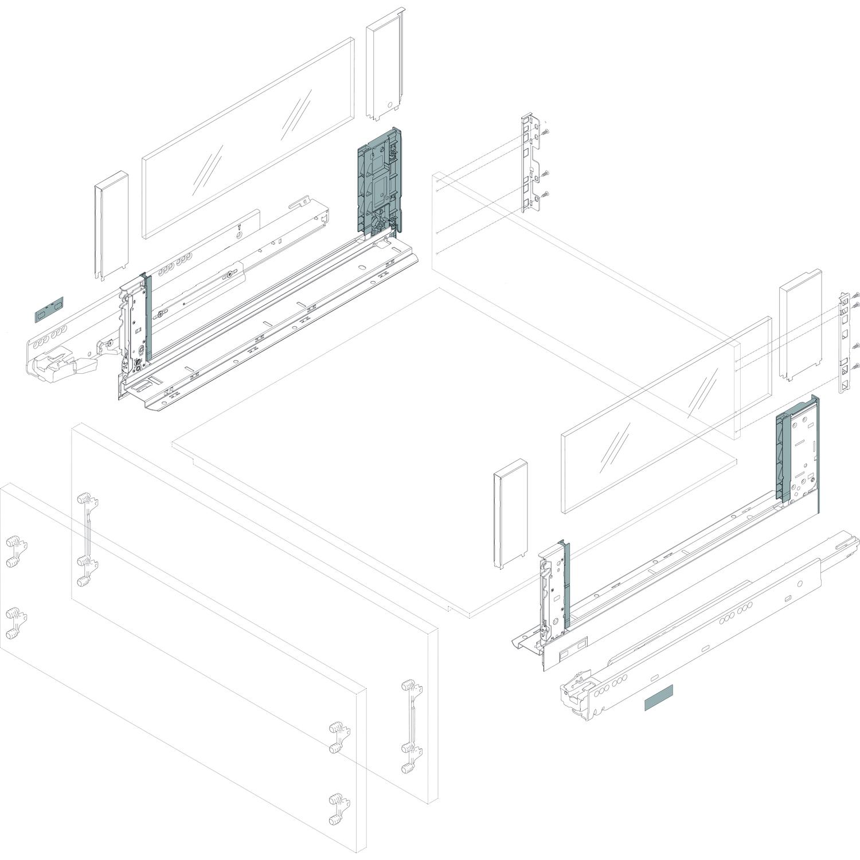 BLUM LEGRABOX pure SET H K TIP-ON 70kg INOX NL 550