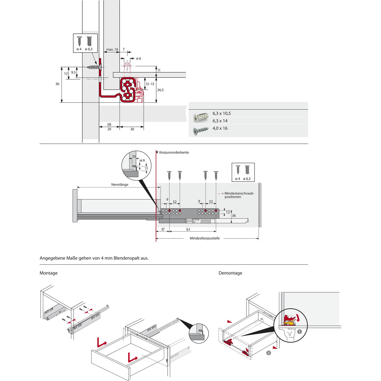 HETTICH QUADRO V6 push to open Unterbodenführung