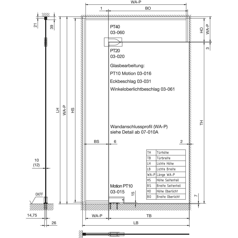 Dorma Eckbeschlag Set 3 Universal Motion AluEV1 für Glastür Pendeltür ohne Griff