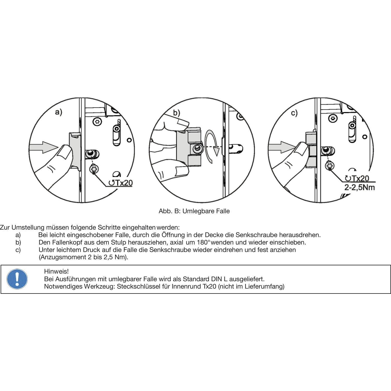 Rohrrahmenschloss BKS 1828 Flachstulp Dornmaß 40 mm