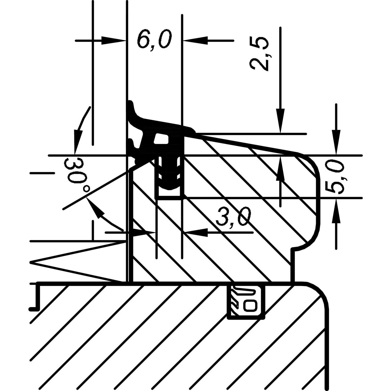 verglasungsdichtung aca 6008 f r holzfenster kunststoff grau. Black Bedroom Furniture Sets. Home Design Ideas