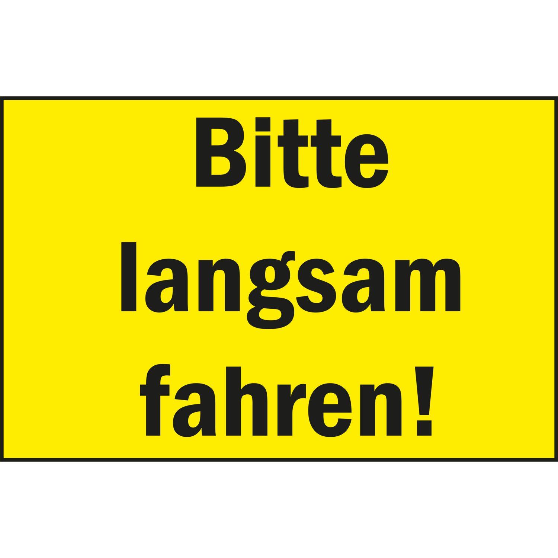 warnschild 300 x 200 mm bitte langsam fahren kunststoff gelb schwarz. Black Bedroom Furniture Sets. Home Design Ideas