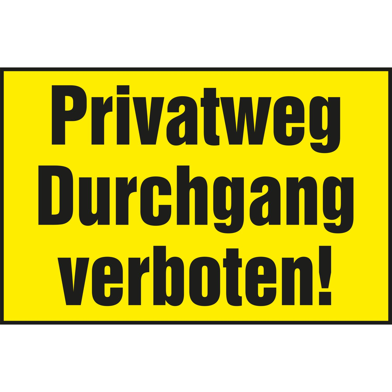 verbotsschild 300 x 200 mm privatweg durchgang verboten gelb schwarz. Black Bedroom Furniture Sets. Home Design Ideas