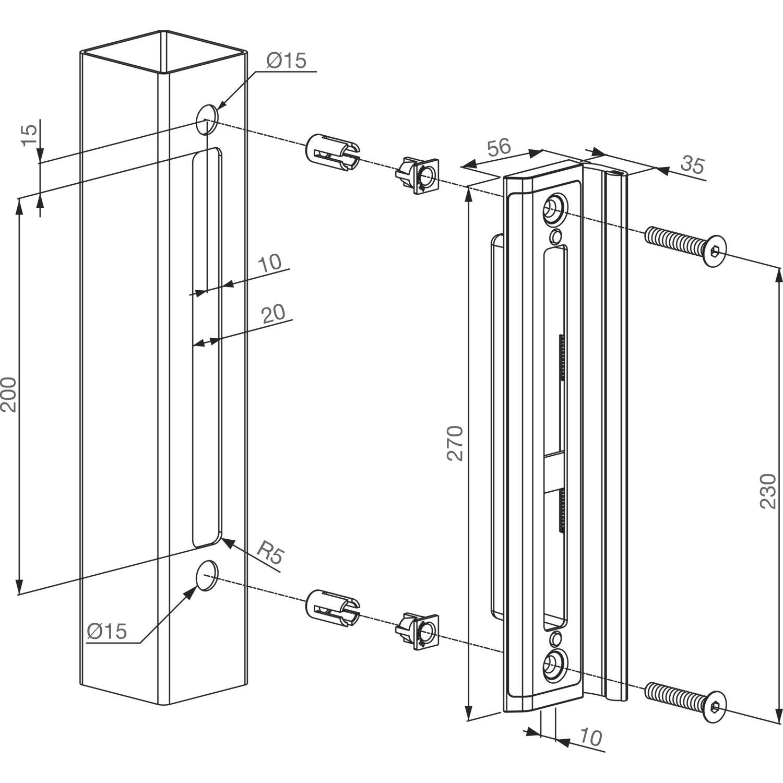 schlie blech mit anschlag f r rohrrahmenschloss h metall 270x56x10 alu. Black Bedroom Furniture Sets. Home Design Ideas