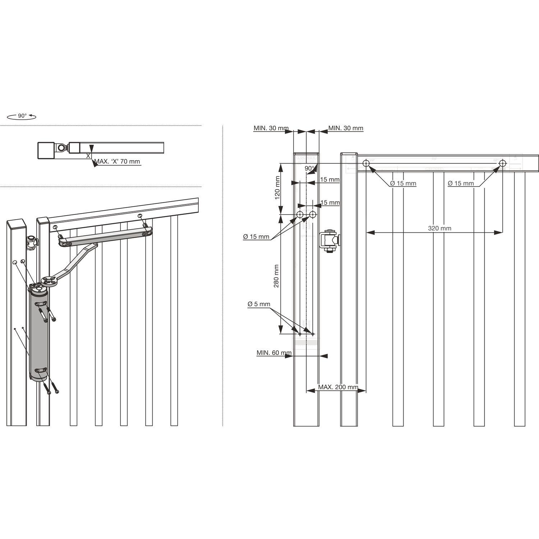 Hydraulischer Torschliesser Schwarz RAL 9005 Selbstschlie/ßend Torband LOCINOX Mammoth 180/°