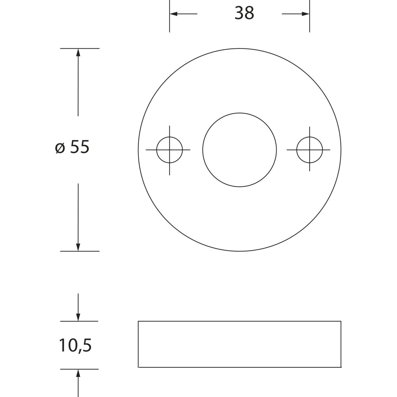 HEWI Zylinderrosette flach 306.23 FS stahlblau