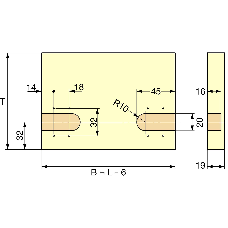 T = Deckeltiefe; B = Deckelbreite; L= Lichte Truhenbreite