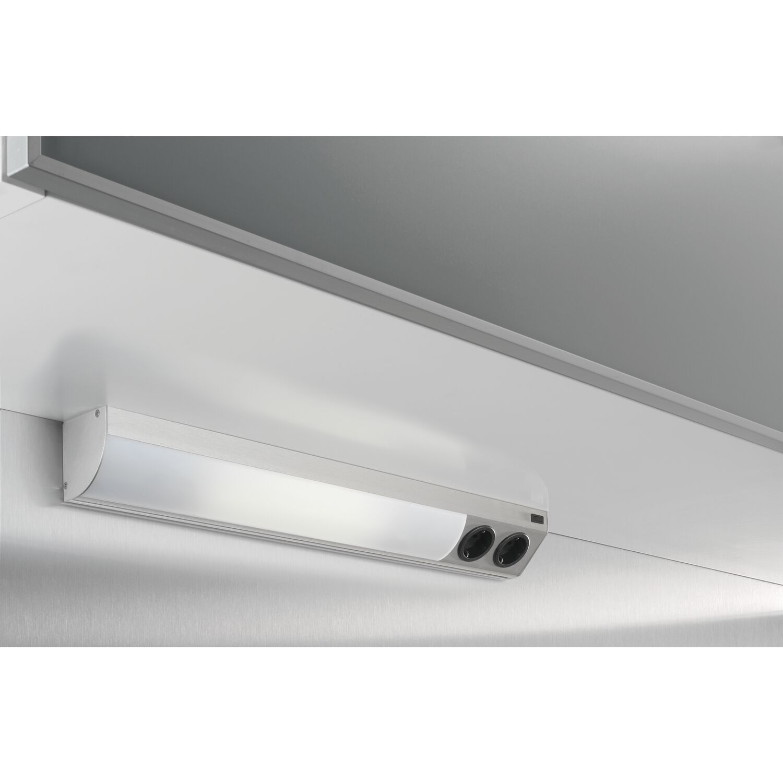 Corner Compact LED 9,6 W 4000K 860mm mit Steckdose, Edelstahl Effekt