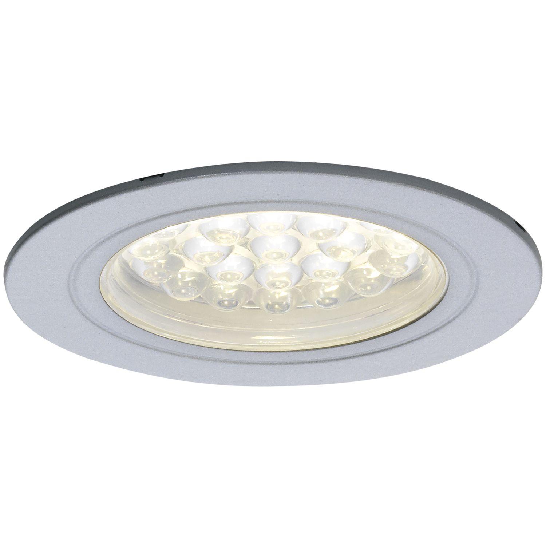 LED Einbauleuchte Sirio IP44, 1,65 Watt, warmweiß, ø 68 mm, alufarbig