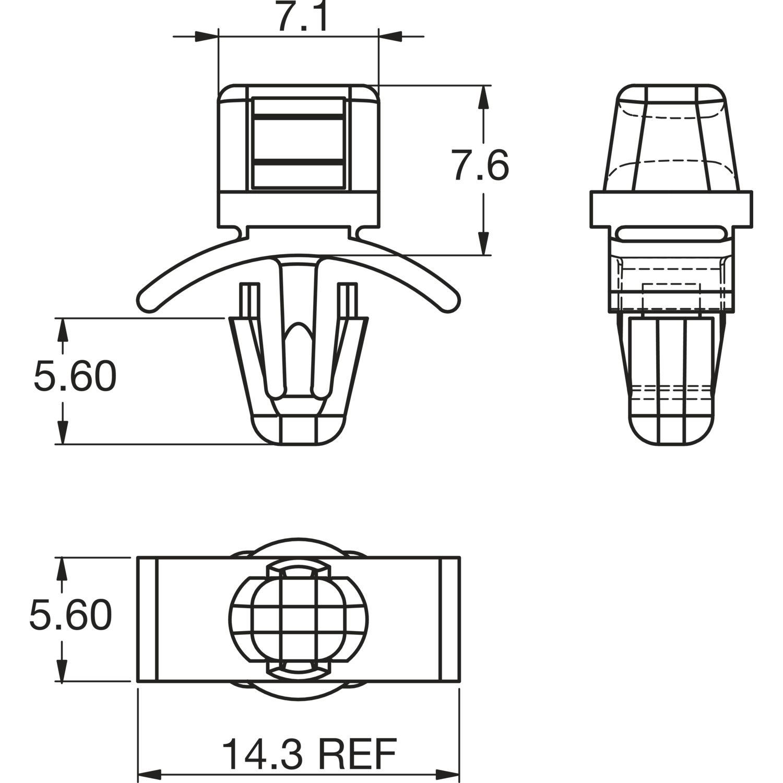 Druckmontage-Kabelbinderhalter FTH-3-01 Kunststoff natur