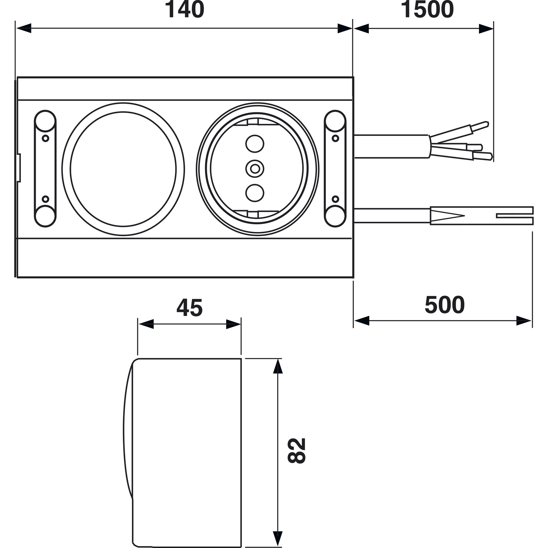 Energie-Box 2 230 V, mit Schalter 2-polig und 1 Steckdose