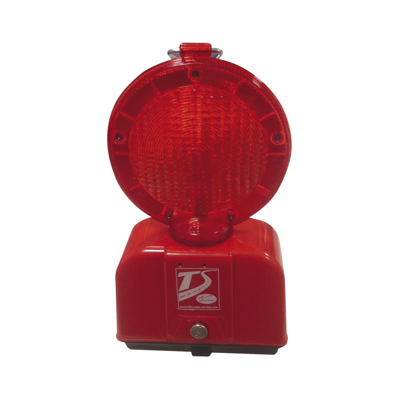 led-baustellenleuchte rot/transparenter linse mit blink- oder dauerlicht