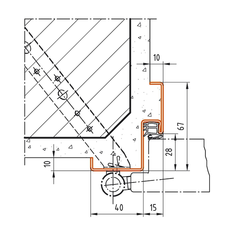 Stahlzarge dwg  DOMOFERM Stahlzarge Profil 22 Eckzarge 1200/2000 mm Mauermontage
