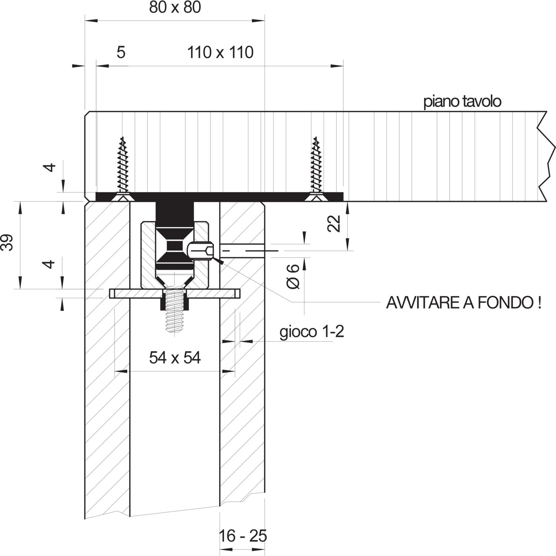 Piastra Fissaggio Gambe Tavolo.Fissaggio Per Gambe Tavolo Fixissimo Piastra Eccentrica Per Gambe Cave 80 X 80