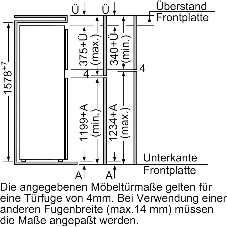 siemens einbau k hl gefrierkombination ki28dx30 nischenh he 158 cm. Black Bedroom Furniture Sets. Home Design Ideas