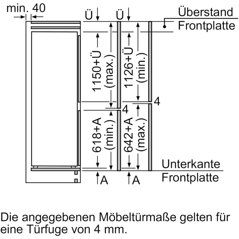 siemens einbau k hl gefrierkombination ki87sad40 nischenh he 177 5 cm. Black Bedroom Furniture Sets. Home Design Ideas