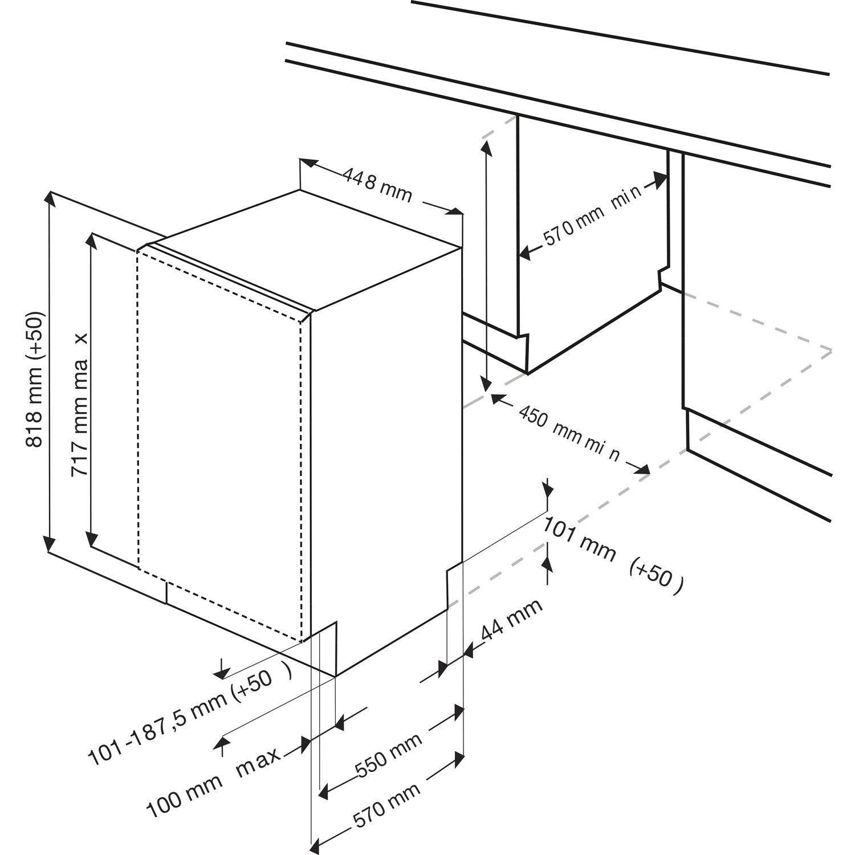 beko geschirrsp ler dis25011 vollintegrierbar nische 450 mm. Black Bedroom Furniture Sets. Home Design Ideas