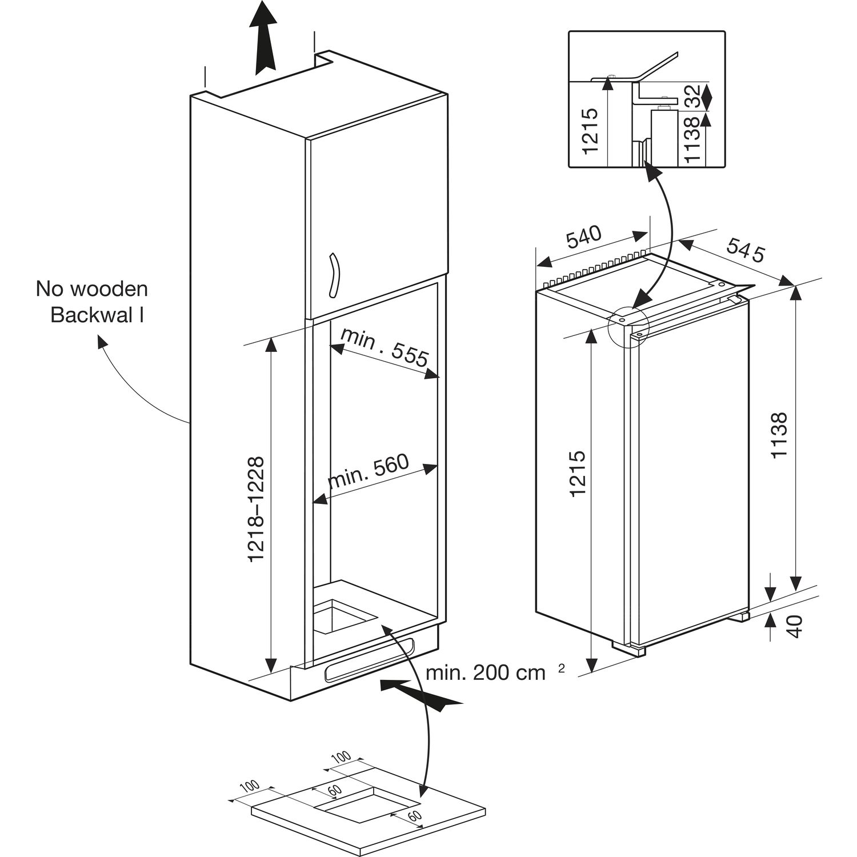 beko k hlschrank bssa 200m2s integrierbar 1220 mm. Black Bedroom Furniture Sets. Home Design Ideas