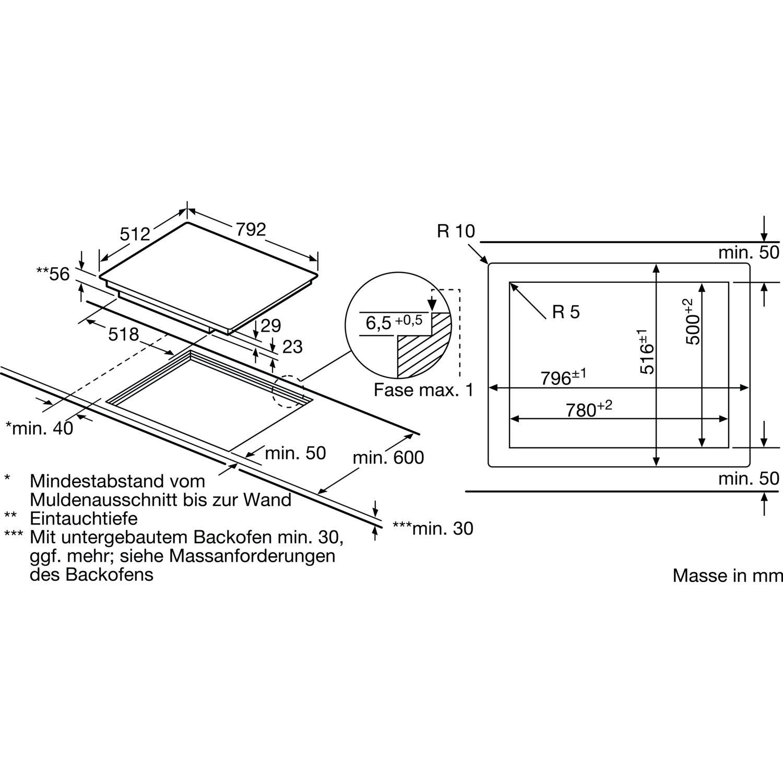 bosch kochfeld pxe801dc1e glaskeramik induktion autark 800 mm. Black Bedroom Furniture Sets. Home Design Ideas